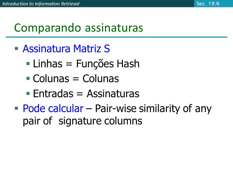 Introduction to Information Retrieval Comparando assinaturas Assinatura Matriz S Linhas = Funções Hash Colunas = Colunas Entradas = Assinaturas Pode c