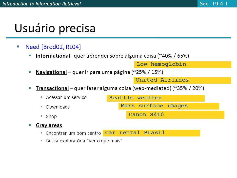 Introduction to Information Retrieval Usuário precisa Need [Brod02, RL04] Informational– quer aprender sobre alguma coisa (~40% / 65%) Navigational –