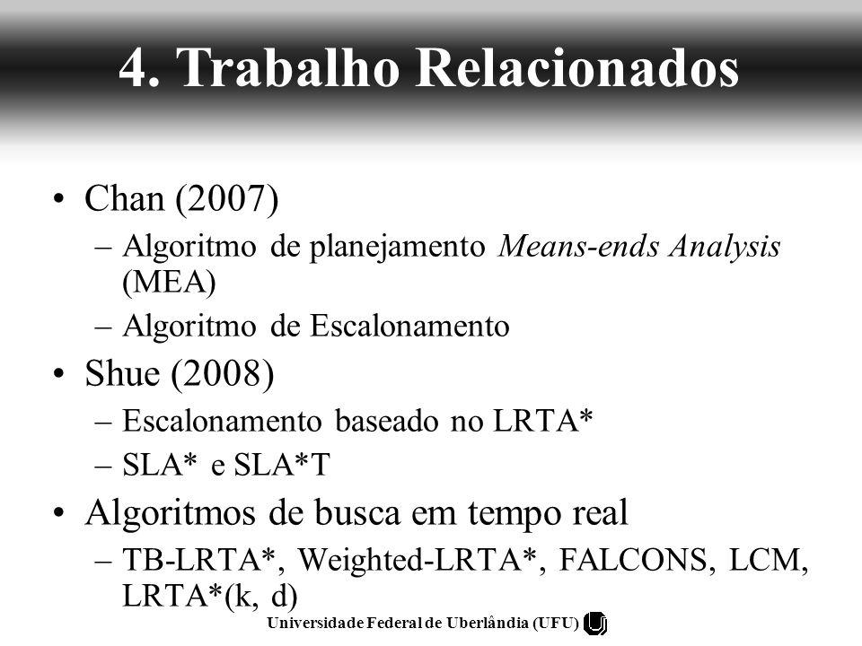 Chan (2007) –Algoritmo de planejamento Means-ends Analysis (MEA) –Algoritmo de Escalonamento Shue (2008) –Escalonamento baseado no LRTA* –SLA* e SLA*T