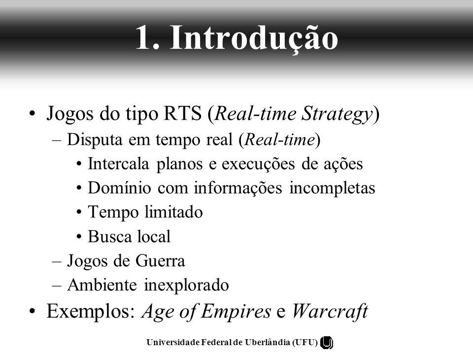 1. Introdução Jogos do tipo RTS (Real-time Strategy) –Disputa em tempo real (Real-time) Intercala planos e execuções de ações Domínio com informações
