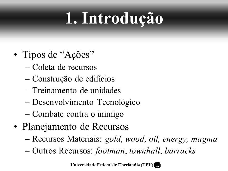 1. Introdução Tipos de Ações –Coleta de recursos –Construção de edifícios –Treinamento de unidades –Desenvolvimento Tecnológico –Combate contra o inim