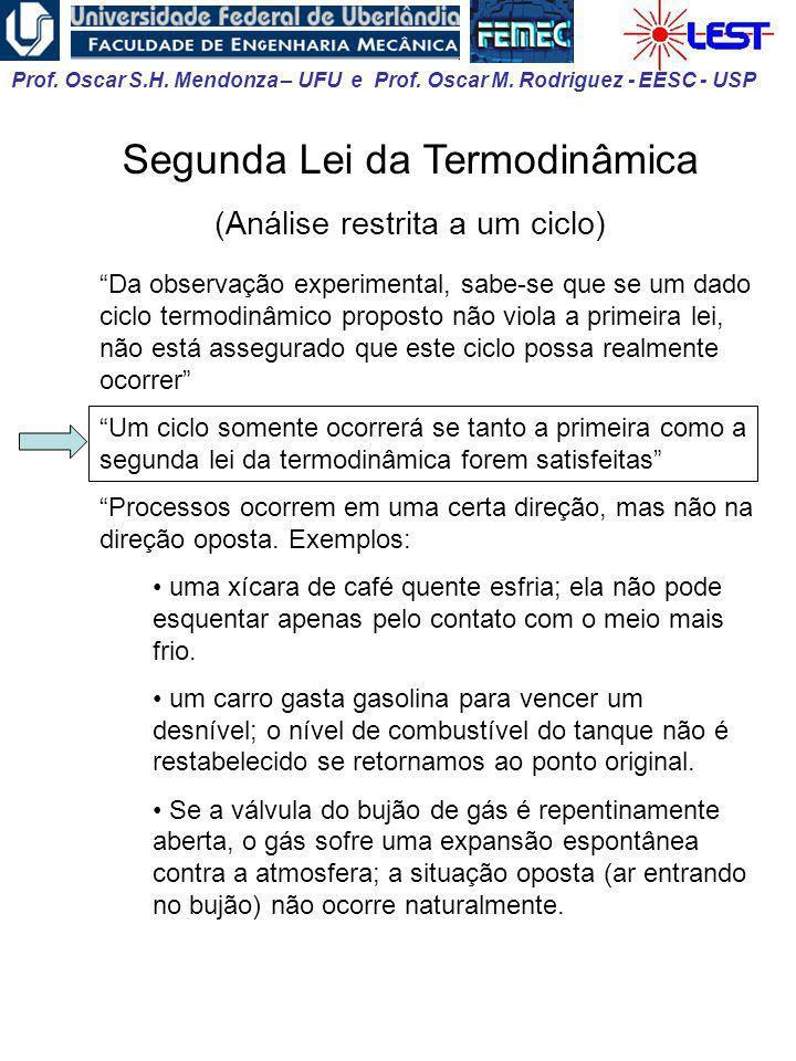 Prof. Oscar S.H. Mendonza – UFU e Prof. Oscar M. Rodriguez - EESC - USP Segunda Lei da Termodinâmica (Análise restrita a um ciclo) Da observação exper