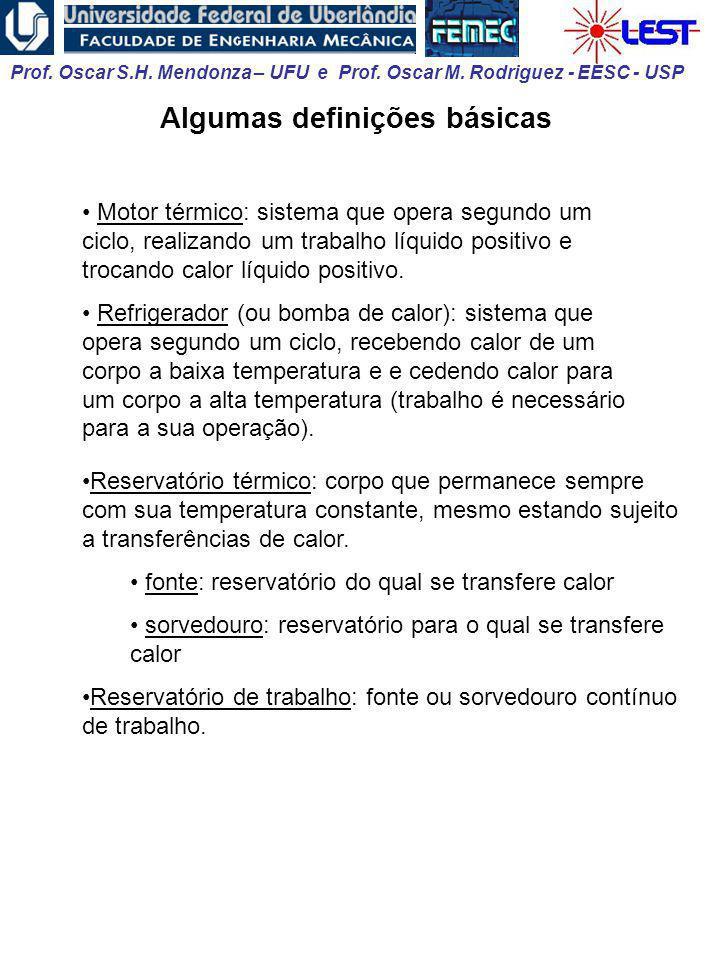 Prof. Oscar S.H. Mendonza – UFU e Prof. Oscar M. Rodriguez - EESC - USP Reservatório térmico: corpo que permanece sempre com sua temperatura constante
