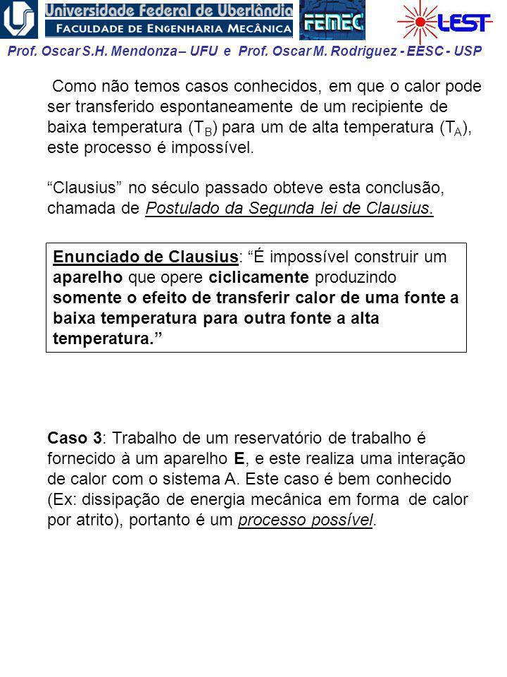 Prof. Oscar S.H. Mendonza – UFU e Prof. Oscar M. Rodriguez - EESC - USP Como não temos casos conhecidos, em que o calor pode ser transferido espontane