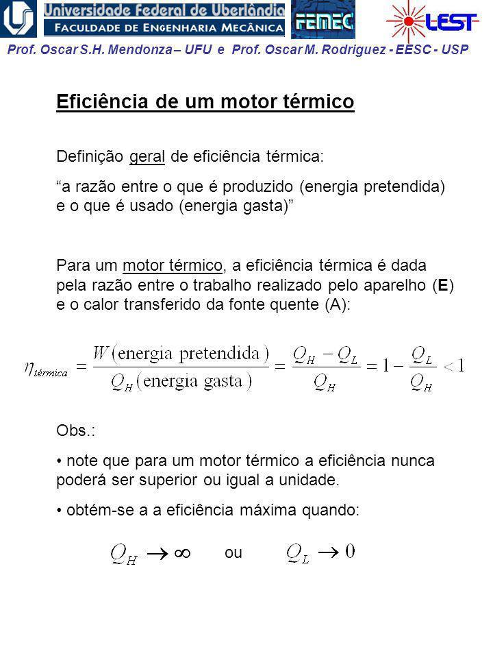 Prof. Oscar S.H. Mendonza – UFU e Prof. Oscar M. Rodriguez - EESC - USP Eficiência de um motor térmico Definição geral de eficiência térmica: a razão