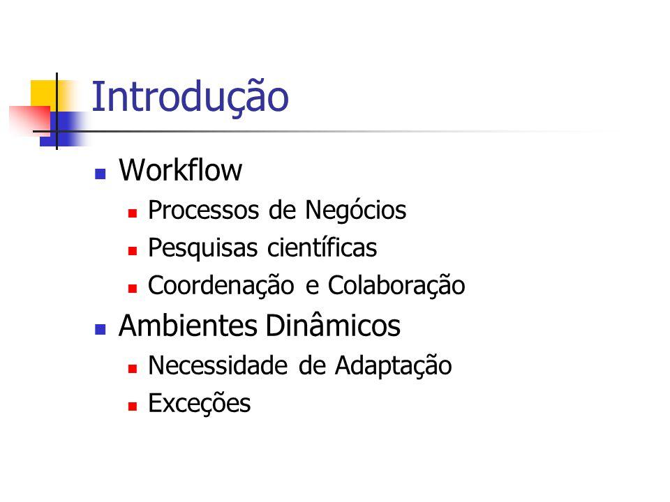 Introdução Workflow Processos de Negócios Pesquisas científicas Coordenação e Colaboração Ambientes Dinâmicos Necessidade de Adaptação Exceções