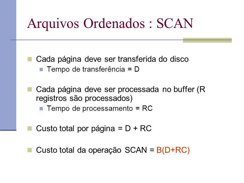 Arquivos Ordenados : SCAN Cada página deve ser transferida do disco Tempo de transferência = D Cada página deve ser processada no buffer (R registros são processados) Tempo de processamento = RC Custo total por página = D + RC Custo total da operação SCAN = B(D+RC)