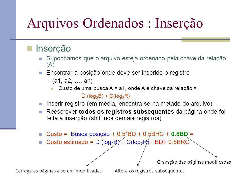 Arquivos Ordenados : Inserção Inserção Suponhamos que o arquivo esteja ordenado pela chave da relação (A) Encontrar a posição onde deve ser inserido o registro (a1, a2, …, an) Custo de uma busca A = a1, onde A é chave da relação = D (log 2 B) + C(log 2 R) Inserir registro (em média, encontra-se na metade do arquivo) Reescrever todos os registros subsequentes da página onde foi feita a inserção (shift nos demais registros) Custo = Busca posição + 0.5*BD + 0.5BRC + 0.5BD = Custo estimado = D (log 2 B) + C(log 2 R)+ BD+ 0.5BRC Gravação das páginas modificadas Carrega as páginas a serem modificadasAltera os registros subsequentes