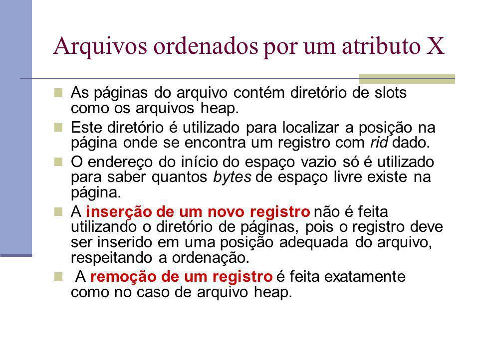 Arquivos Ordenados : Busca Seleção A > a A : atributo chave (da relação) 1) Localizar o primeiro registro Custo = Dlog 2 B + C log 2 R 2) Ler todos os registros subsequentes em ordem sequencial Custo = Dlog 2 B + C log 2 R + custo de ler o resto Custo estimado= Dlog 2 B + C log 2 R + B/2(D+RC)