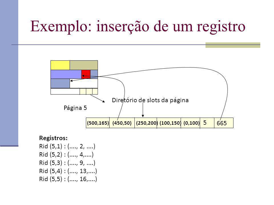 Exemplo: inserção de um registro Página 5 Diretório de slots da página 665 5 (0,100)(100,150)(250,200)(450,50)(500,165) Registros: Rid (5,1) : (...., 2,....) Rid (5,2) : (...., 4,....) Rid (5,3) : (...., 9,....) Rid (5,4) : (...., 13,....) Rid (5,5) : (...., 16,....)