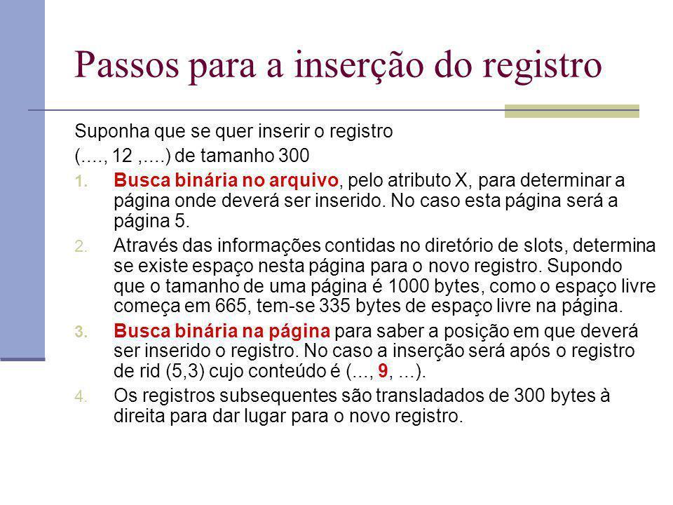 Passos para a inserção do registro Suponha que se quer inserir o registro (...., 12,....) de tamanho 300 1. Busca binária no arquivo, pelo atributo X,