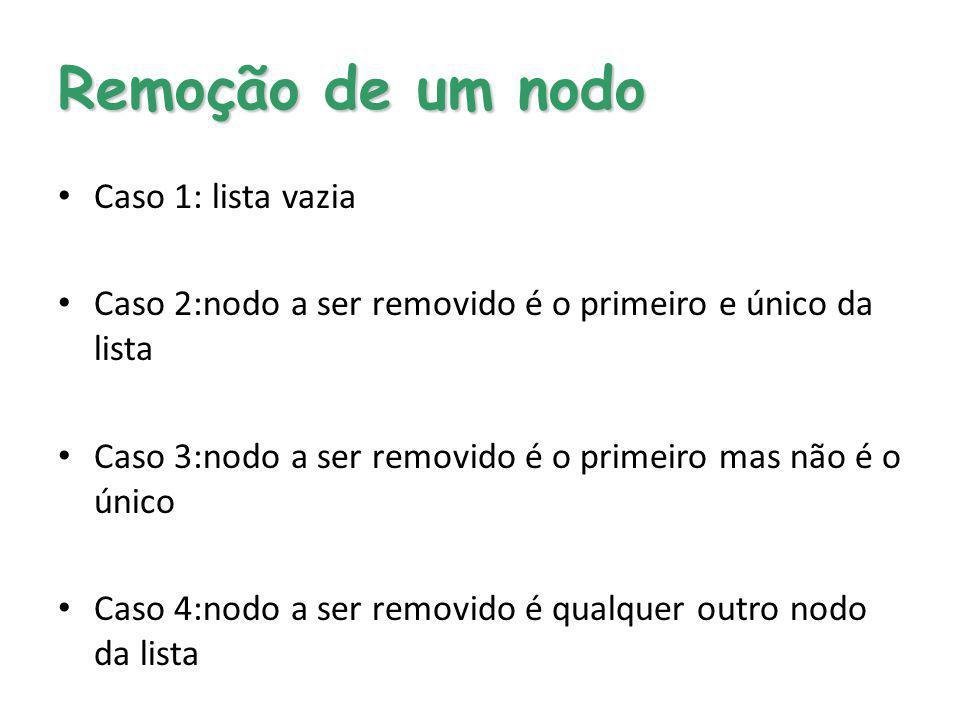 Remoção de um nodo Caso 1: lista vazia Caso 2:nodo a ser removido é o primeiro e único da lista Caso 3:nodo a ser removido é o primeiro mas não é o ún