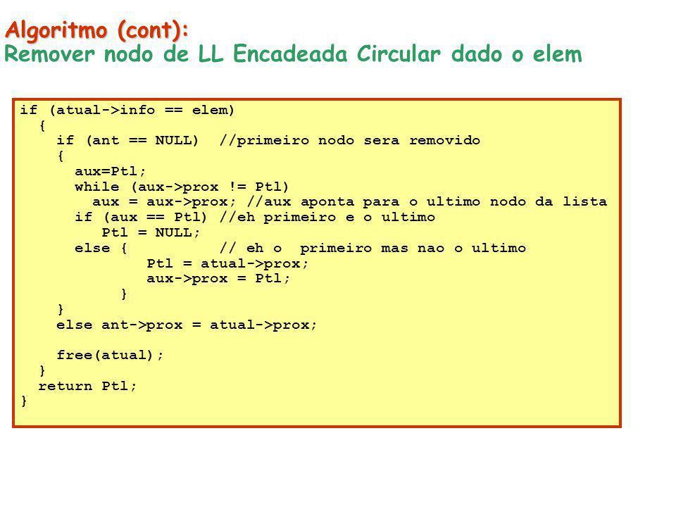 Algoritmo (cont): Remover nodo de LL Encadeada Circular dado o elem if (atual->info == elem) { if (ant == NULL) //primeiro nodo sera removido { aux=Pt
