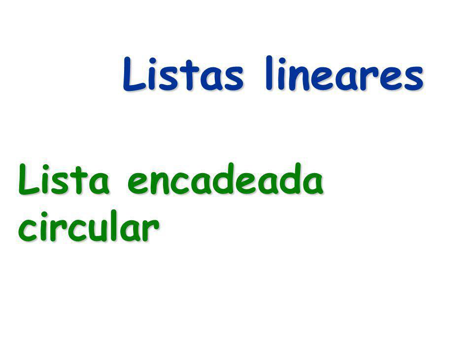 Listas lineares Lista encadeada circular