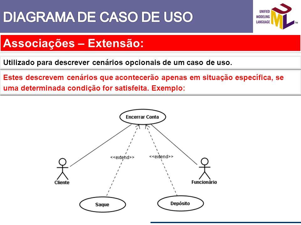 Associações – Extensão: Utilizado para descrever cenários opcionais de um caso de uso. Estes descrevem cenários que acontecerão apenas em situação esp