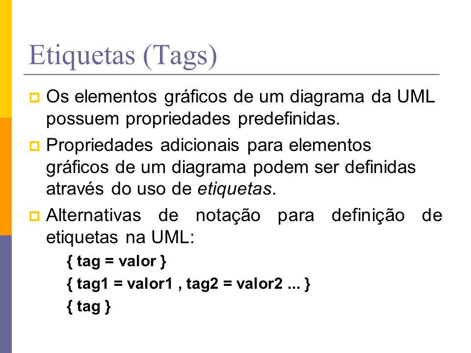 Etiquetas (Tags) Os elementos gráficos de um diagrama da UML possuem propriedades predefinidas. Propriedades adicionais para elementos gráficos de um