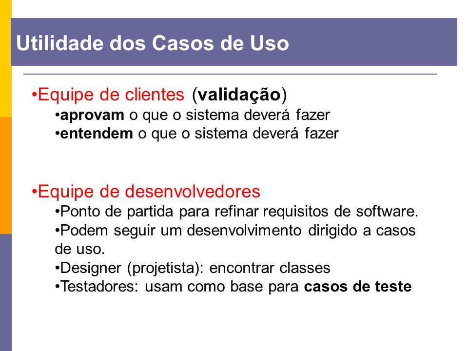 Equipe de clientes (validação) aprovam o que o sistema deverá fazer entendem o que o sistema deverá fazer Equipe de desenvolvedores Ponto de partida p