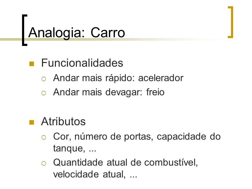 Analogia: Carro Funcionalidades Andar mais rápido: acelerador Andar mais devagar: freio Atributos Cor, número de portas, capacidade do tanque,...