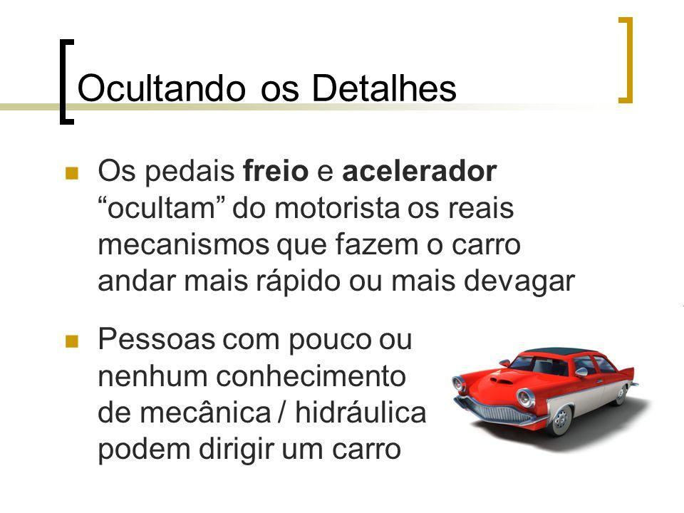 Ocultando os Detalhes Os pedais freio e acelerador ocultam do motorista os reais mecanismos que fazem o carro andar mais rápido ou mais devagar Pessoas com pouco ou nenhum conhecimento de mecânica / hidráulica podem dirigir um carro