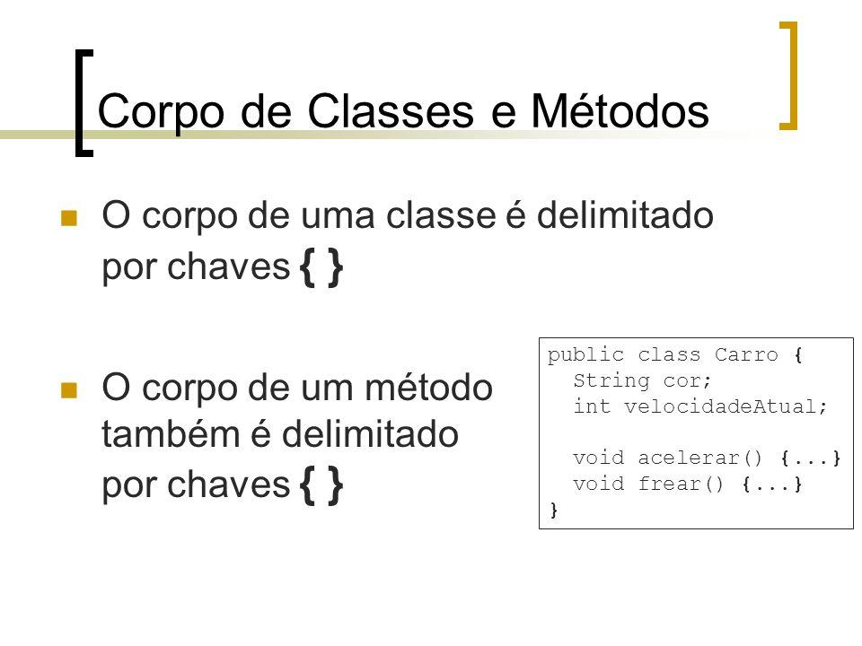 Corpo de Classes e Métodos O corpo de uma classe é delimitado por chaves { } public class Carro { String cor; int velocidadeAtual; void acelerar() {...} void frear() {...} } O corpo de um método também é delimitado por chaves { }