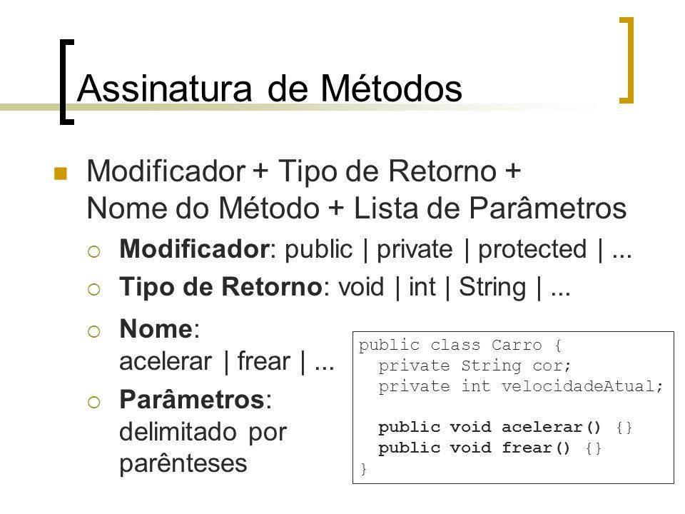 Assinatura de Métodos Modificador + Tipo de Retorno + Nome do Método + Lista de Parâmetros Modificador: public | private | protected |... Tipo de Reto
