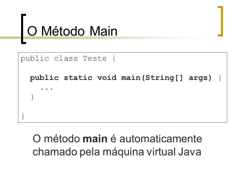 O Método Main O método main é automaticamente chamado pela máquina virtual Java public class Teste { public static void main(String[] args) {... }
