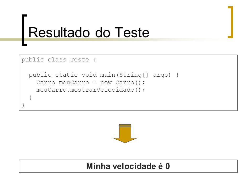Resultado do Teste public class Teste { public static void main(String[] args) { Carro meuCarro = new Carro(); meuCarro.mostrarVelocidade(); } Minha velocidade é 0