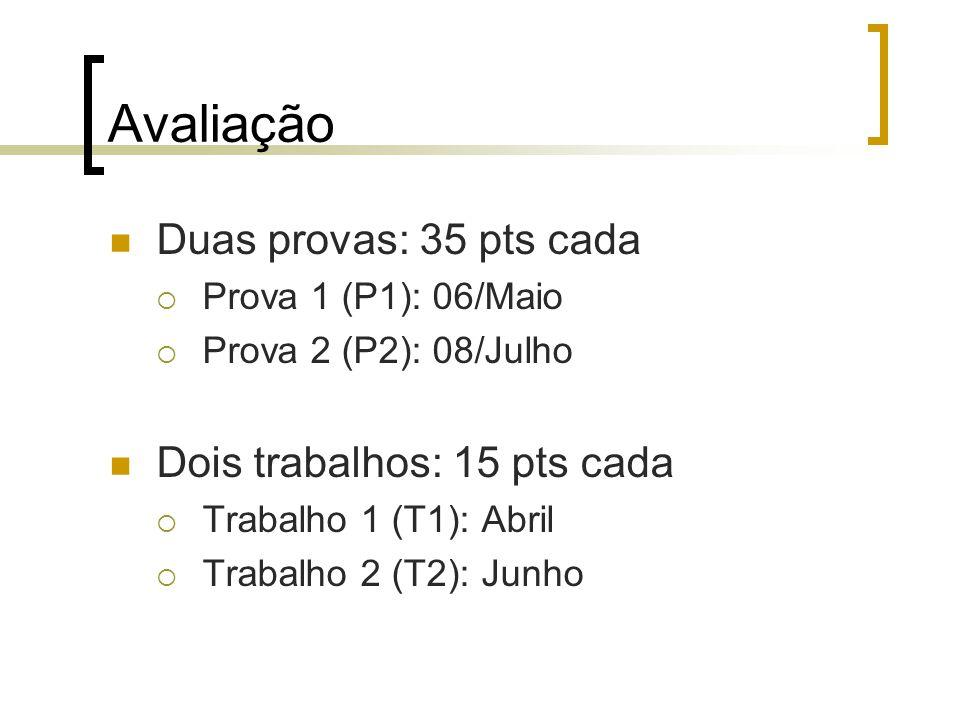 Avaliação Duas provas: 35 pts cada Prova 1 (P1): 06/Maio Prova 2 (P2): 08/Julho Dois trabalhos: 15 pts cada Trabalho 1 (T1): Abril Trabalho 2 (T2): Junho