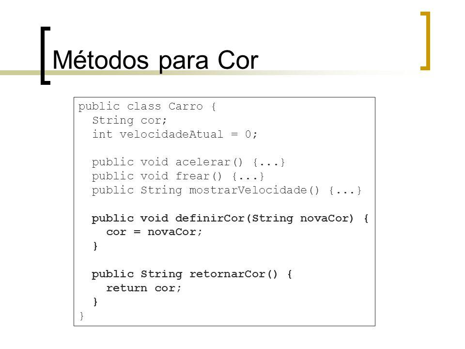 Métodos para Cor public class Carro { String cor; int velocidadeAtual = 0; public void acelerar() {...} public void frear() {...} public String mostrarVelocidade() {...} public void definirCor(String novaCor) { cor = novaCor; } public String retornarCor() { return cor; }