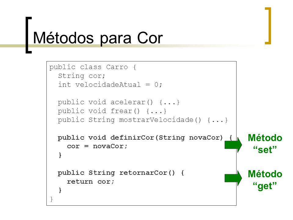 Métodos para Cor public class Carro { String cor; int velocidadeAtual = 0; public void acelerar() {...} public void frear() {...} public String mostrarVelocidade() {...} public void definirCor(String novaCor) { cor = novaCor; } public String retornarCor() { return cor; } Método set Método get