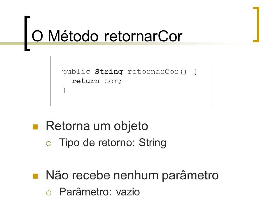 O Método retornarCor Retorna um objeto Tipo de retorno: String Não recebe nenhum parâmetro Parâmetro: vazio public String retornarCor() { return cor;