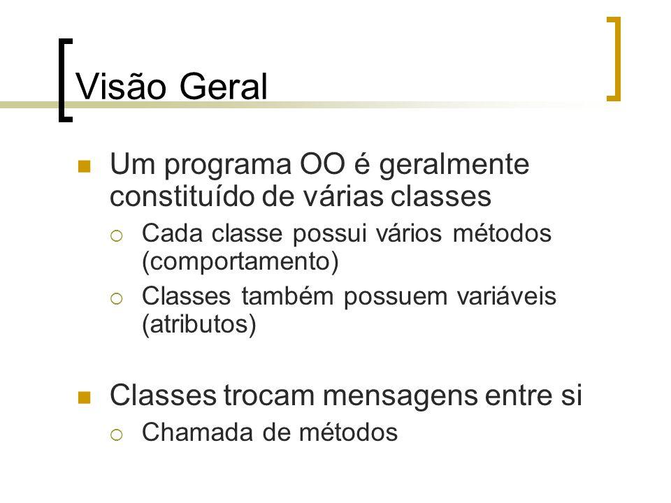 Visão Geral Um programa OO é geralmente constituído de várias classes Cada classe possui vários métodos (comportamento) Classes também possuem variáveis (atributos) Classes trocam mensagens entre si Chamada de métodos