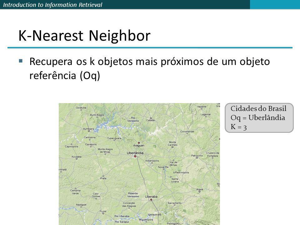 Introduction to Information Retrieval K-Nearest Neighbor Recupera os k objetos mais próximos de um objeto referência (Oq) Cidades do Brasil Oq = Uberl