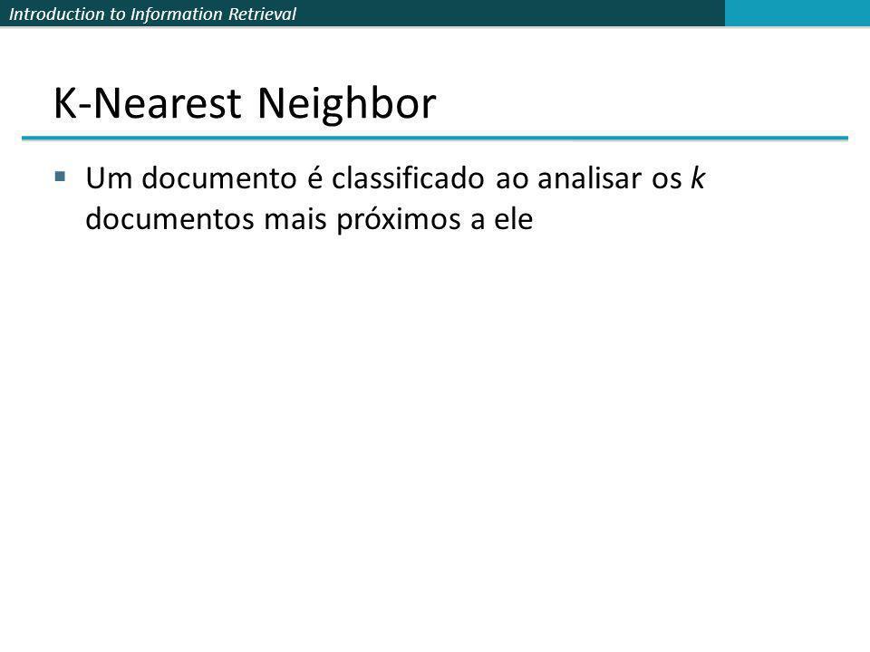 Introduction to Information Retrieval K-Nearest Neighbor Um documento é classificado ao analisar os k documentos mais próximos a ele
