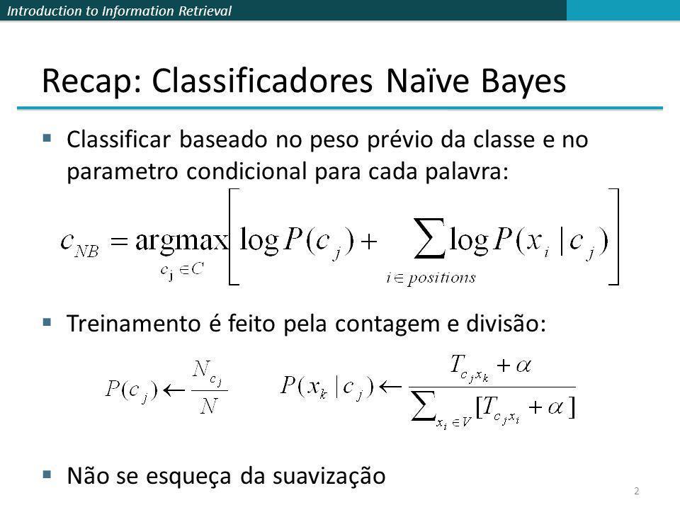 Introduction to Information Retrieval Recap: Classificadores Naïve Bayes Classificar baseado no peso prévio da classe e no parametro condicional para