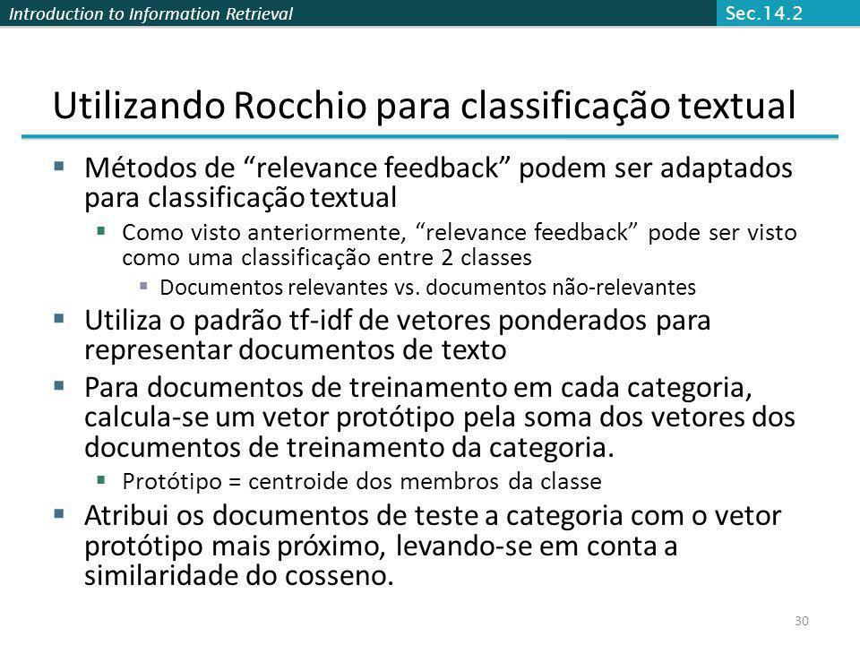 Introduction to Information Retrieval Utilizando Rocchio para classificação textual Métodos de relevance feedback podem ser adaptados para classificaç