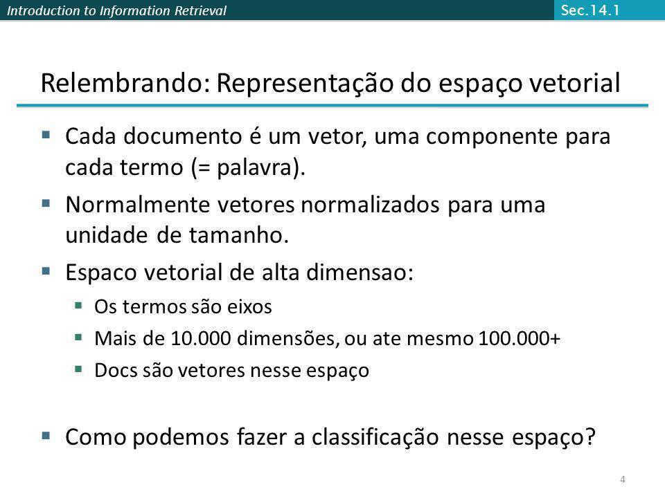 Introduction to Information Retrieval 4 Relembrando: Representação do espaço vetorial Cada documento é um vetor, uma componente para cada termo (= pal