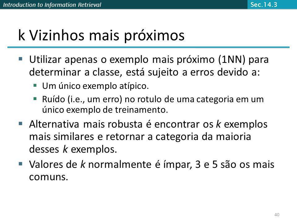 Introduction to Information Retrieval 40 k Vizinhos mais próximos Utilizar apenas o exemplo mais próximo (1NN) para determinar a classe, está sujeito