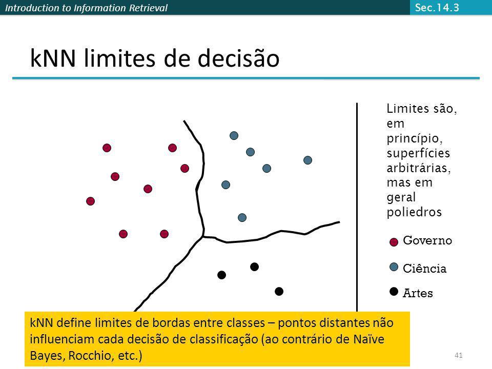 Introduction to Information Retrieval 41 kNN limites de decisão Governo Ciência Artes Limites são, em princípio, superfícies arbitrárias, mas em geral