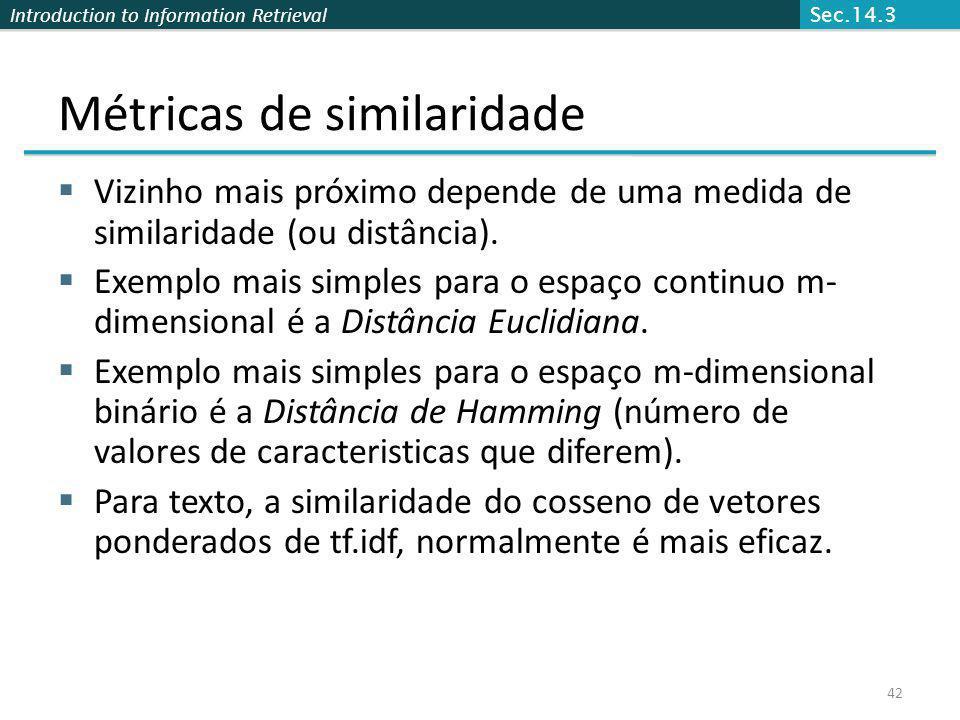 Introduction to Information Retrieval 42 Métricas de similaridade Vizinho mais próximo depende de uma medida de similaridade (ou distância). Exemplo m