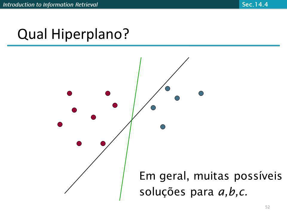 Introduction to Information Retrieval 52 Qual Hiperplano? Em geral, muitas possíveis soluções para a,b,c. Sec.14.4