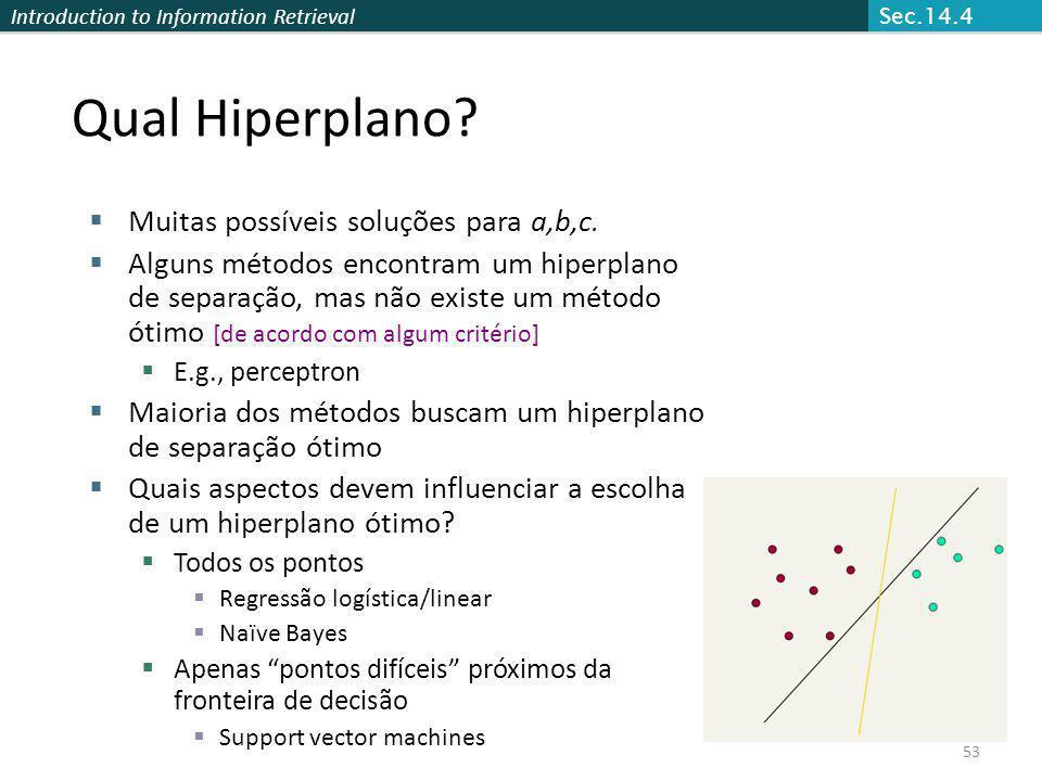 Introduction to Information Retrieval 53 Qual Hiperplano? Muitas possíveis soluções para a,b,c. Alguns métodos encontram um hiperplano de separação, m