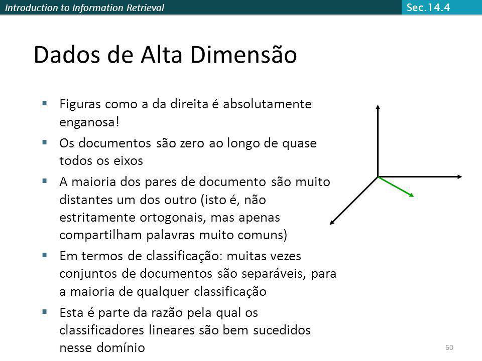 Introduction to Information Retrieval 60 Dados de Alta Dimensão Figuras como a da direita é absolutamente enganosa! Os documentos são zero ao longo de