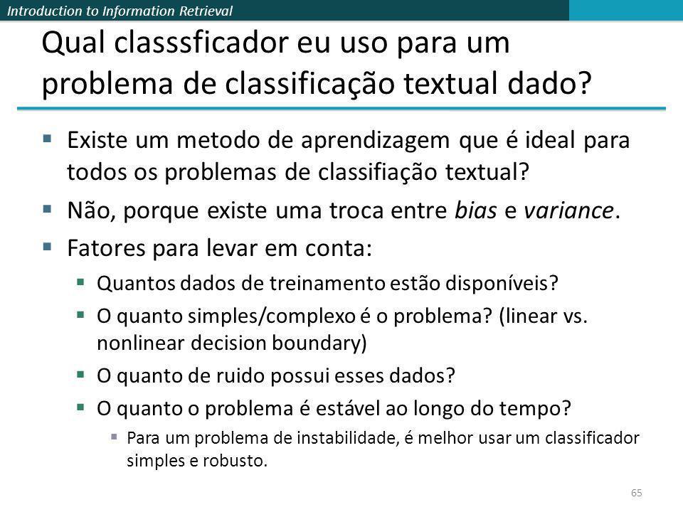 Introduction to Information Retrieval Qual classsficador eu uso para um problema de classificação textual dado? Existe um metodo de aprendizagem que é