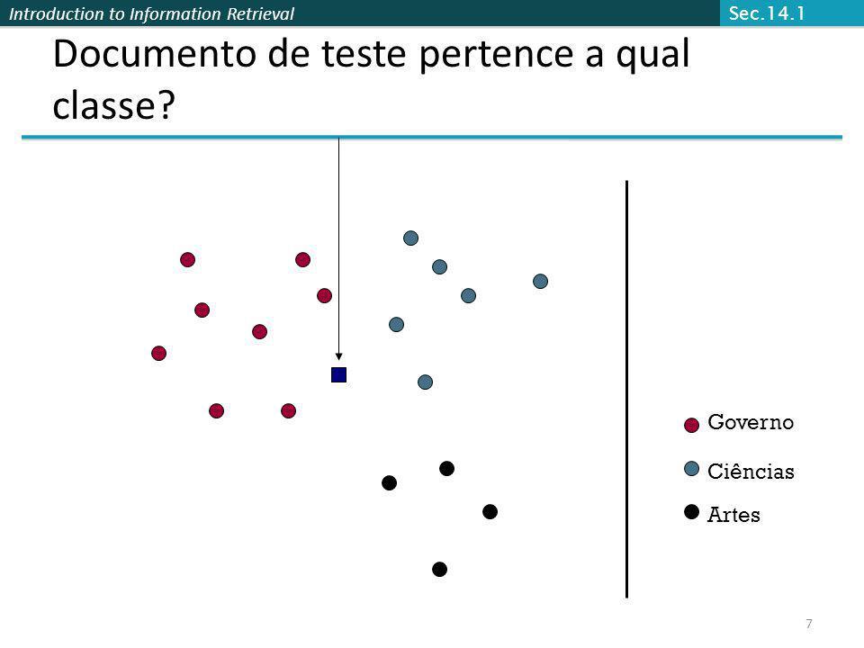 Introduction to Information Retrieval 7 Documento de teste pertence a qual classe? Governo Ciências Artes Sec.14.1