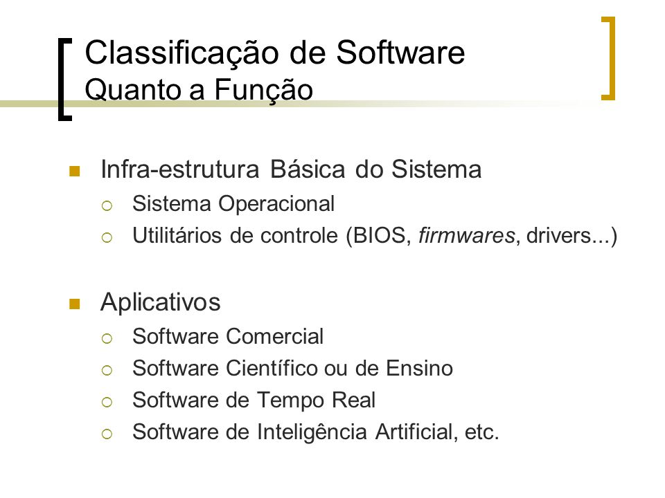 Classificação de Software Quanto a Função Infra-estrutura Básica do Sistema Sistema Operacional Utilitários de controle (BIOS, firmwares, drivers...) Aplicativos Software Comercial Software Científico ou de Ensino Software de Tempo Real Software de Inteligência Artificial, etc.