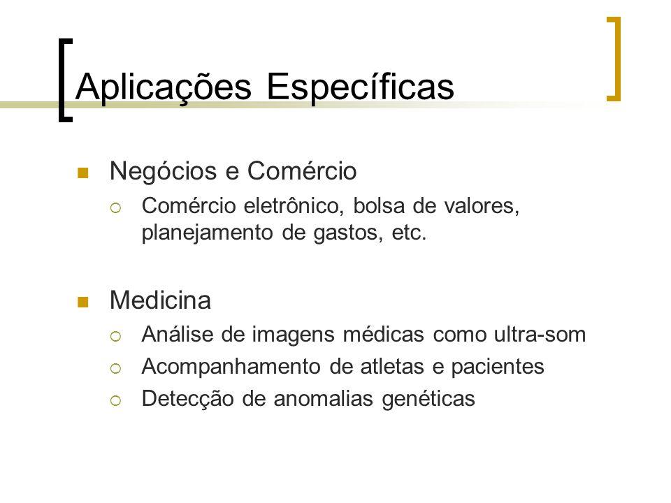 Aplicações Específicas Negócios e Comércio Comércio eletrônico, bolsa de valores, planejamento de gastos, etc. Medicina Análise de imagens médicas com