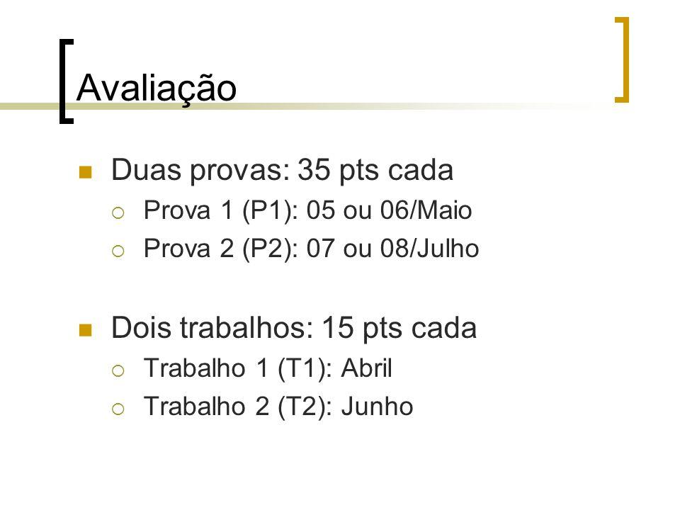 Avaliação Duas provas: 35 pts cada Prova 1 (P1): 05 ou 06/Maio Prova 2 (P2): 07 ou 08/Julho Dois trabalhos: 15 pts cada Trabalho 1 (T1): Abril Trabalh