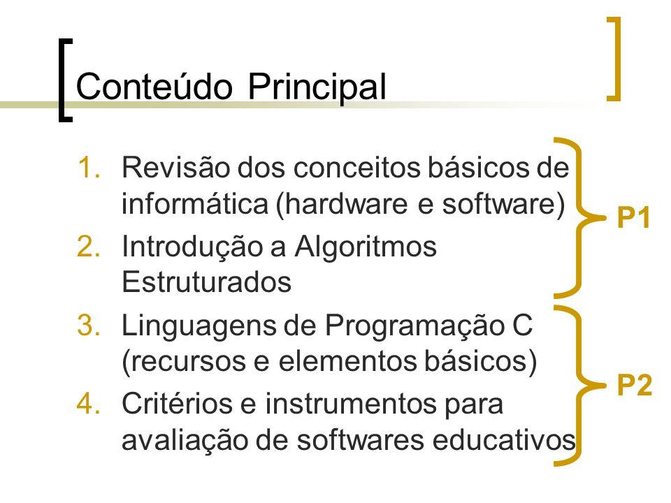 Conteúdo Principal 1.Revisão dos conceitos básicos de informática (hardware e software) 2.Introdução a Algoritmos Estruturados 3.Linguagens de Program