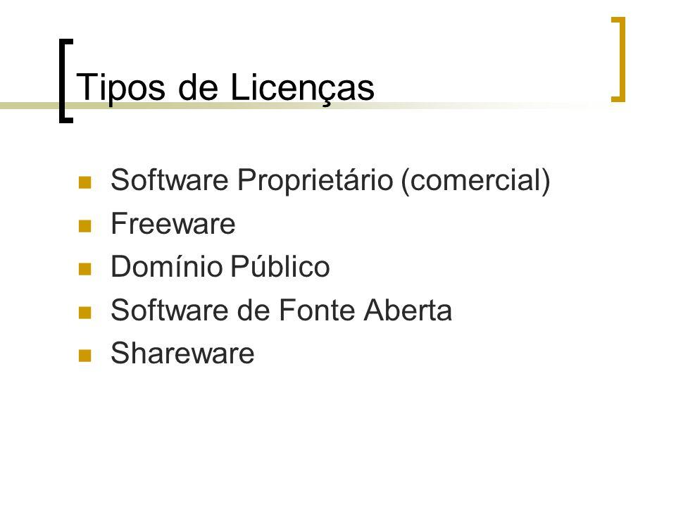 Tipos de Licenças Software Proprietário (comercial) Freeware Domínio Público Software de Fonte Aberta Shareware